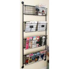h 4 tiered 5 basket metal wall rack in metallic black 58624 the home depot