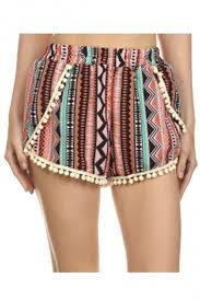 Womens Patterned Shorts Unique Women's MultiPatterned Print Stretchy Shorts With Pom Pom Trim