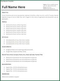 Job Resume Template Free Printable Sample Ms Word Templates