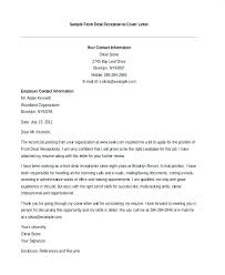 Receptionist Cover Letter Putasgae Info