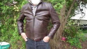 albert richard horsehide half belt leather jacket
