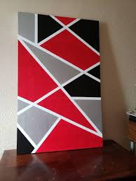 abstract red black white silver canvas