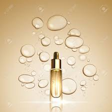 3D-Gold-Serum Essenz Öl Flasche Auf Blase Flüssigkeit Effekt Hintergrund. Premium-Hautpflege Ad Konzept Vorlage. Vector Gold Wasser-Öl-Blasen Illustration Lizenzfrei Nutzbare Vektorgrafiken, Clip Arts, Illustrationen. Image 66973822.