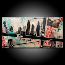 original new york city painting acrylic 48x24 canvas modern red black teal urban abstract fine art by federico farias