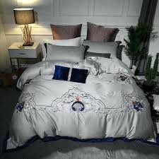 blue grey duvet cover luxury cotton mystical grey bedding set embroidery duvet cover set bed sheet blue grey duvet