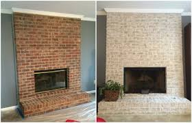 floor to ceiling brick fireplace makeover