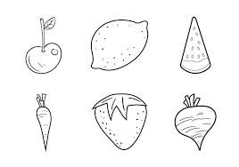 Gratis Fruit En Veggie Kleurplaten Vectorillustratie Download
