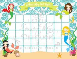 Mermaids Kids Sticker Chart Digital File Sticker Chart