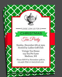Tea Invitations Printable Christmas Tea Party Invitations Christmas Tea Party Invitation