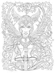 Small Picture Warrior Angel Coloring page Adult Christian Color by ChubbyMermaid