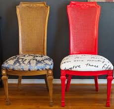 endearing red upholstered dining room chairs and painted red wood dining chairs dishfunctional designs vine red