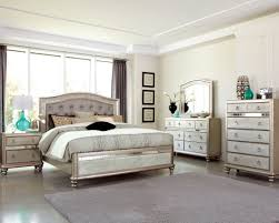 Queen Bed Bedroom Set Coaster 204181q Bling Game Metallic Platinum 4 Pcs Queen Bedroom Set