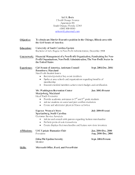 Non Profit Resume Objective Statement Samples
