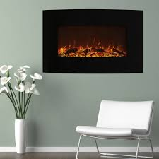 northwest 36 curved color changing fireplace with wall mount and floor stand