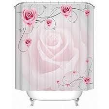 Alicemall <b>pink flower</b> shower curtain 72in x 72in, <b>polyester</b> fabric