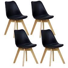 Woltu 4er Set Esszimmerstühle Küchenstuhl Design Stuhl Esszimmerstuhl Kunstleder Holz Schwarz Bh29sz 4