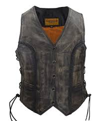 womens long cut distressed brown leather vest wlsv39