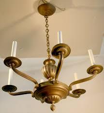 french art deco chandelier bronze rhulmann style