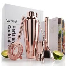 vonshef parisian cocktail shaker set  rose gold  domucouk