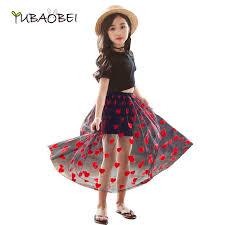 <b>Girls</b> Heart <b>Embroidery</b> Long Maxi Tutu Skirt For Teenager Kids <b>Girls</b> ...
