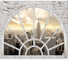 Murando Fototapete Fenster Nach New York 400x280 Cm Vlies Tapete