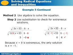 holt mcdougal algebra 2 solving radical equations and inequalities example 5 continued method 2 use algebra