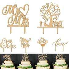 Mrmrs Romantic Bride Groom Cake Topper Wedding Party Favors Wood