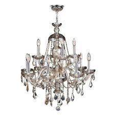 provence collection 12 light polished chrome and golden teak crystal chandelier