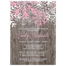 Snowflake Baby Shower Invitations Baby Shower Invitations Pink Snowflake Rustic Winter Wood