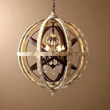 wooden orb retro rustic weathered wooden globe metal orb crystal 5 light chandelier chandeliers ceiling white