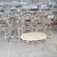 Vintage wrought iron garden furniture Woodard Everything But The House Vintage Outdoor Wrought Iron Patio Furniture Set Ebth