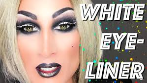 white eyeliner and smokey eyes drag queen makeup transformation tutorial beauty
