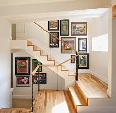 Wall Collage Living Room Staircase Picture Collage Living Room Eclectic With Family Room