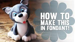 Cake Decorating Animal Figures How To Make A Cute Fondant Husky Puppy Dog Cake Decorating