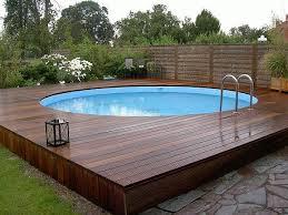 Inground Pool Surround Ideas Modern Above Ground Decks Wooden Deck Round Lawn