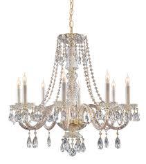 8 lights polished brass crystal chandelier