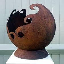 rusty garden sphere sculpture