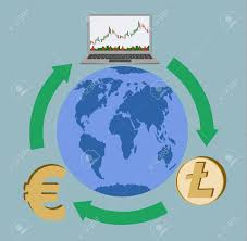 Trading And Exchange Anywhere In The World Laptop And Litecoin