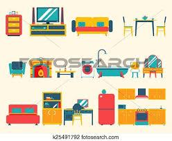 Disegno Bagno In Camera : Clipart mobilia casa interno icone e simboli set