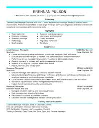 Resume Examples For Massage Therapist Best Lead Massage Therapist