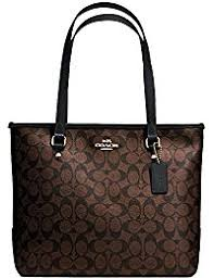 New Authentic COACH Monogram C Logo Brown Black Medium Tote Shoulder Bag