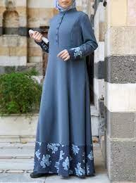 Zaada Contrast Print Abaya - Abayas - Women