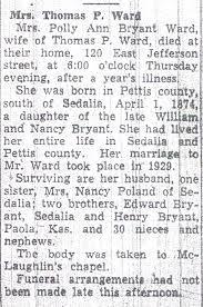 Documents: Polly Bryant-Howe-Ward Obituary: Familytomb