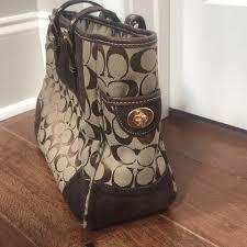 Coach + Logo Medium Brown Suede Leather Tote - Tradesy