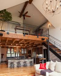 Kitchen And Flooring Loft Above The Kitchen And Dining Room Repurposed Beams And