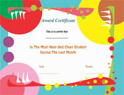 Student Of The Month Certificate Templates Cleanliness Award Certificate Template Gct