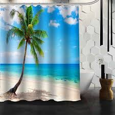 2018 best nice custom ocean beach huts palm trees shower curtain bath curtain waterproof fabric for bathroom more size wjy 39 from industrial