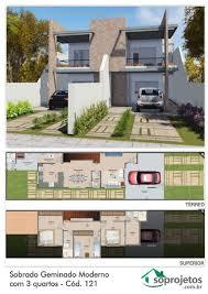 Encontre imóveis para venda com o melhor preço. Planta De Sobrado Geminado Moderno Com 3 Quartos Cod 121 Casas Geminadas Projetos De Casas Geminadas Geminado