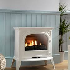 rosall flueless gas stove in white clear glass
