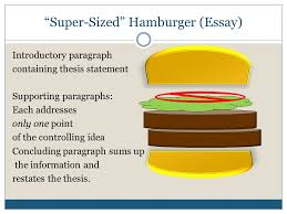approaches to consider paragraph and essay writing ppt 10 ldquosuper sizedrdquo hamburger essay introductory
